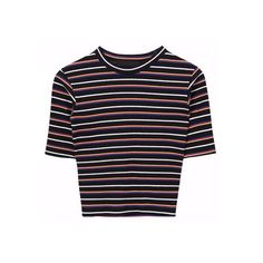 Cropped Stripe Pattern T-Shirt (215 DZD) ❤ liked on Polyvore featuring tops, t-shirts, cropped tops, slim fit t shirts, striped t shirt, striped crop tops and slim t shirts