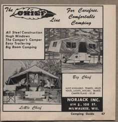1964 AD~BIG & LITTLE CHIEF TENT CAMPING TRAILERS