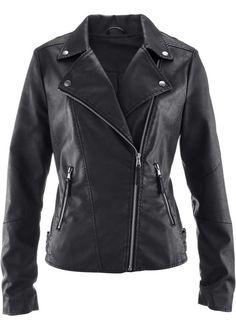 Biker Tarz Deri Ceket, bpc bonprix collection, siyah
