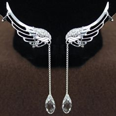 Pair of Stylish Women's Rhinestone Wings Ear Clips, AS THE PICTURE in Earrings | DressLily.com