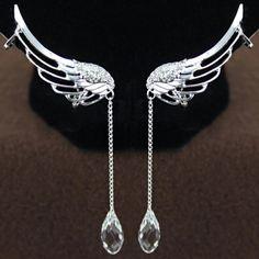 Pair of Stylish Women's Rhinestone Wings Ear Clips, AS THE PICTURE in Earrings   DressLily.com