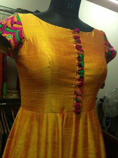 Yellow raw silk anarkali