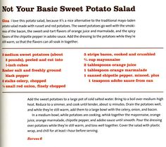 """BASIC SWEET POTATO SALAD   Recipe from celebrity chef Pat Neely's new cookbook """"Back Home with the Neely's."""" It's all good, old-fashioned soul food."""