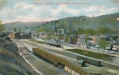 Honesdale PA * Union RR Depot  Main St. 1909 *