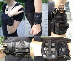 Leather cuffs Perfect for my post apocalyptic wardrobe Post Apocalyptic Costume, Post Apocalyptic Fashion, Leather Bracers, Leather Cuffs, Steampunk, Apocalypse Fashion, Post Apocalypse, Dystopia Rising, Dystopian Fashion