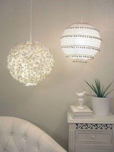 Ideas para decorar lámparas de papel : Papel o cartulina, tijeras y pegamento es todo lo que necesitas para transformar una sencilla lámpara de papel en una pieza especial. Hoy compartimos mucha