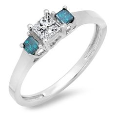 0.45 Carat (ctw) 10k White Gold Princess Cut Blue & White Diamond Ladies Bridal 3 Stone Engagement Ring 1/2 CT (Size 9). Other ring sizes may be shipped sooner. Most rings can be resized. Items is smaller than what appears in photo. Photo enlarged to show detail. Satisfaction Guaranteed. Return or exchange any order within 30 days. All our diamonds are conflict free. Gemstone : Diamond.
