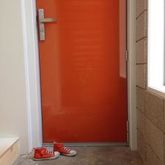 Give it up for bright doors! Regram who painted their front door in Resene Chilean Orange. Leave your matching sneakers at the door! Orange Door, Front Door Colors, Wood Doors, House Colors, Habitats, Count, Converse, Exterior, Colours