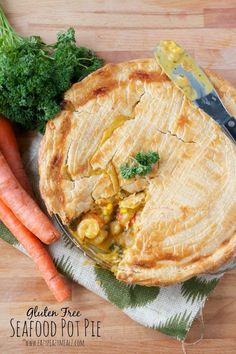 Gluten Free Seafood Pot Pie: A fantastic seafood pot pie with a paella base, and flaky crust. This gluten free pot pie leaves nothing wanting #ad - Eazy Peazy Mealz