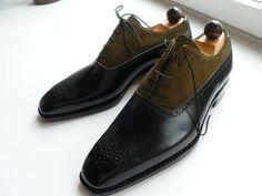 Handmade men two tone shoes, Mens fashion laceup formal shoes, Men dress shoes - Boots