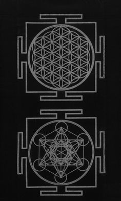 Yantras with symbols of flower of life, metatrons cube, sahashara and sri yantra.Yantra is a geometric design acting as a highly efficient tool for contemplation, concentration and meditation. Yantras carry spiritual significance, and point the user to higher levels of consciousness.