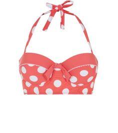 Kelly Brook Pink Contrast Trim Polka Dot Longline Bikini Top
