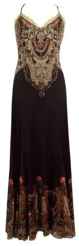 Buy New: $1,867.00: Michal Negrin Black Long Backless Dress Made of Chiffon Lycra with Spaghetti Straps, Lace Detailing and Lace Like and Roses Authentic Print with Swarovski Crystal Accents