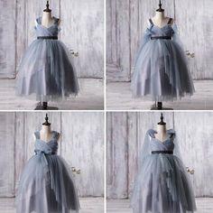 Dusty Blue Tulle Flower Girl Dresses, A-line Little Girl Dresses, Affordable Junior Bridesmaid Dresses, FG056