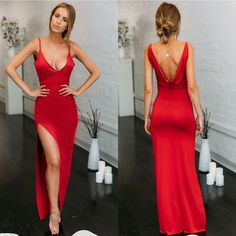 long prom dresses - red prom Dress,side slit Prom Dress,long prom dress,sheath prom dress,Low back prom dress Grad Dresses, Ball Dresses, Evening Dresses, Prom Dress, Dress Long, Dress Red, Daisy Dress, Bodycon Dress, Summer Dresses