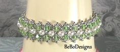 Swarovski Crystal and Pearl Tennis Bracelet-Bead Woven-Right Angle Weave-Peridot Crystals-White Pearls-Birthstone Bracelet by BeBoDesigns on Etsy