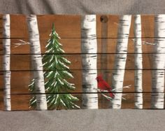 Cardinal Aspen white birch, Winter decor, Pallet art, SALE, Original for sale, Handpainted, Winter Pine tree,  upcycled rustic shabby