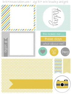 Free Printable What About Me Journal Cards and Labels from Kristine Davidson