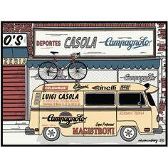 "A new twist on what is fast becoming an EC Classic T-shirt. The Campy Van. Original silkscreened art by EC artist, Tony DeBoom. - 5 color, silkscreened print, made in Boulder, Colorado - 18"" x 24"" hea"
