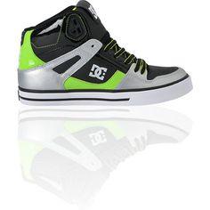 DC Shoes Spartan Hi WC Black, Silver & Lime Green Skate Shoe