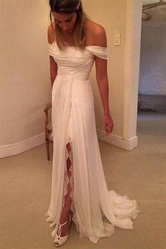 Flowy Ivory Off The Shoulder Long Chiffon Lace Beach Wedding Dresses Z0167