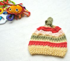 Baby girl knitted hat, stripey knit baby hat, yellow pink green hand made cotton hat on Etsy, $16.00