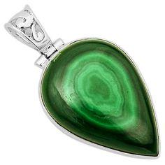Malachite Eye 925 Sterling Silver Pendant Jewelry 6929P