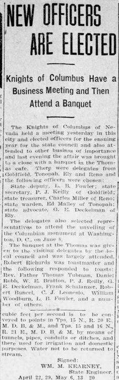 Reno Gazette-Journal, 14 May 1912, Tue, Main Edition  Robert Buncel gives toast at banquet of Knights of Columbus