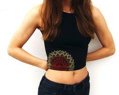 Mandala Sun Crop Top-Yoga Crop Top-Workout Crop by ZellyaDesigns
