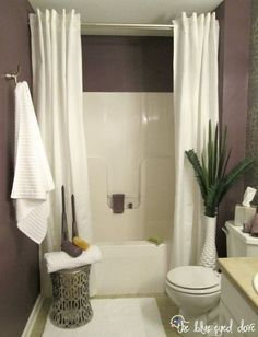 bathroom makeover, bathroom ideas CEILING TO FLOOR SHOWER CURTAIN MAKES THE ROOM APPEAR LARGER; ELEGANT
