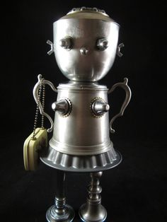 Mrs. Sugar Bot found object robot sculpture assemblage by ckudja, $175.00