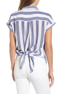 Lucky Brand Stripe Tie Back Crinkle Cotton Top Kurta Designs, Blouse Designs, Frock Fashion, Fashion Outfits, Marine Look, Iranian Women Fashion, Short Tops, Mode Outfits, Blouse Styles