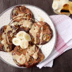 Chocolate-Banana Upside-Down Pancakes.