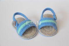 Crochet baby sandals baby slippers flip flops by EditaMHANDMADE