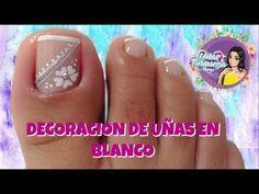 ♥ Nail design for white feet / ♥ nails step by step / beginner nails . Toenail Art Designs, Simple Nail Art Designs, Best Nail Art Designs, Cute Nail Art, Nail Art Diy, Diy Nails, Shellac Toes, Feet Nails, Toothpick Nail Art