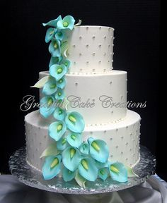 blue and green elegant wedding cakes - Google Search. CALA LILY