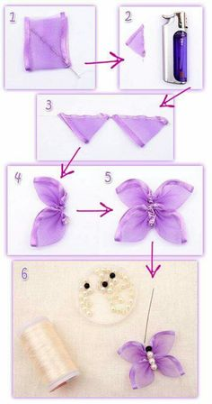 Wonderful Ribbon Embroidery Flowers by Hand Ideas. Enchanting Ribbon Embroidery Flowers by Hand Ideas. Butterfly Party Decorations, Butterfly Crafts, Flower Crafts, Fabric Butterfly Diy, Purple Butterfly, Ribbon Art, Ribbon Crafts, Diy Crafts, Band Kunst