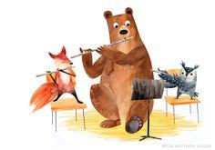 Flute Drawing, Music Drawings, Colorful Drawings, Children's Book Illustration, Rock Art, Animal Drawings, Illustrators, Character Design, Artwork