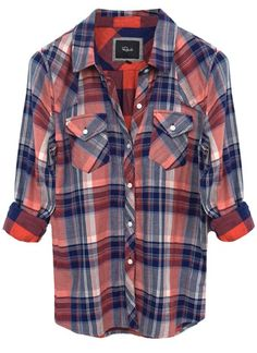 Kendra Cotton - Coral/Navy Plaid