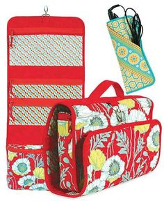 Carry your travel essentials in style! This set includes a hanging organizer with 3 see-through pockets for quickly finding your items, as well as a deep,