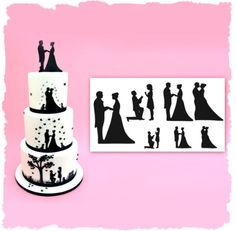 New Patchwork Cutters Wedding Silhouette Cutters and how to use them. Perfect for easy DIY Wedding Cakes