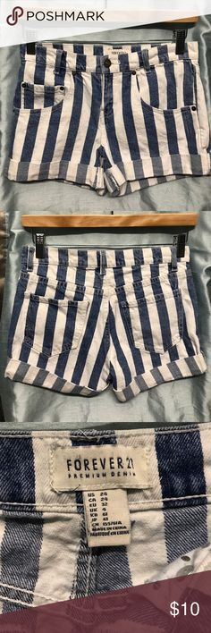 FOREVER 21 shorts Super cute blue and white striped shorts by Forever21. A super cute piece for any fashionista Forever 21 Shorts Jean Shorts