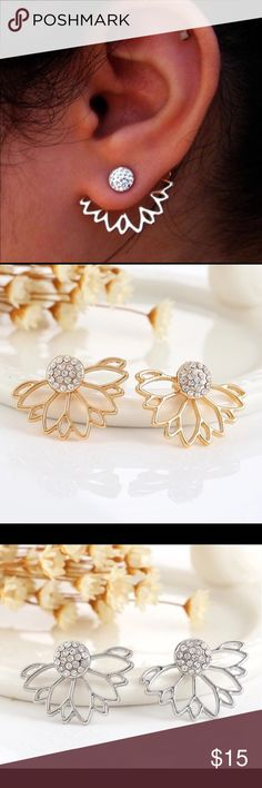 Hollow Out Rhinestone Leaf Stud Earrings For Women Trendy Jewelry Gold Color Hollow Out Leaf Stud Earrings Ear Cuff Clip For Women Jacket Piercing Earrings Jewelry Queen Esther Etc Jewelry Earrings
