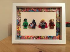 Lego Avengers frame Lego Display, Lego Sets, Legos, Lego Avengers, Lego Decorations, Lego Boxes, Lego Pictures, Superhero Room, Lego Room