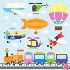 Transportation clip art Cute VehiclesAir Vehicle by YenzArtHaut, $5.00