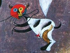 Joan Miro cannot really be called a true cat lover even though many of his works include felines. An unfortunate story is that Miro had a cat that he. Distortion Art, Joan Miro Paintings, Automatic Drawing, Cat Drawing, Cat Art, Modern Art, Art Projects, Moose Art, Illustration Art