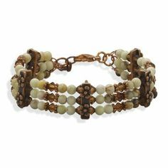 "7""+1"" Multistrand Copper and Bead Bracelet Bracelets-Midwest Jewellery. $51.08. 7""+1"" Multistrand Copper and Bead Bracelet. 7"" + 1"" extension triple strand copper bracelet with 4mm yellow magnesite, 4mm smoky crystal beads and copper flower bars. The bracelet has a lobster clasp closure.. 100% Satisfaction Guaranteed"