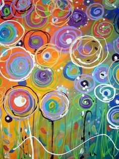 Sprightly Spring- love the color pallet on this art. Abstract Floral Painting Colorful Circles by TracyHallArt Arte Elemental, Circle Art, Spring Art, Elementary Art, Teaching Art, Art Plastique, Art Auction, Art Techniques, Art Lessons