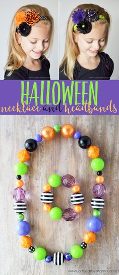 Easy Halloween Necklace and Headbands at artsyfartsymama.com. Get your supplies at www.fizzypops.com.