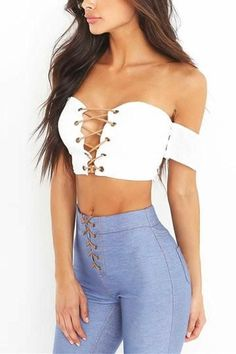 TAUPIN AM Sexy off shoulder crop tops women 2017 Lace up hollow out strapless party tank tops Women summer crop top beach camsi Off Shoulder Crop Top, White Off Shoulder, Stylish Summer Outfits, Crop Top Outfits, Club Outfits, Summer Crop Tops, Pinterest Fashion, Sexy Jeans, Leather And Lace